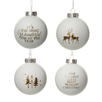 White and Gold Glass Designer Baubles - Set of 4