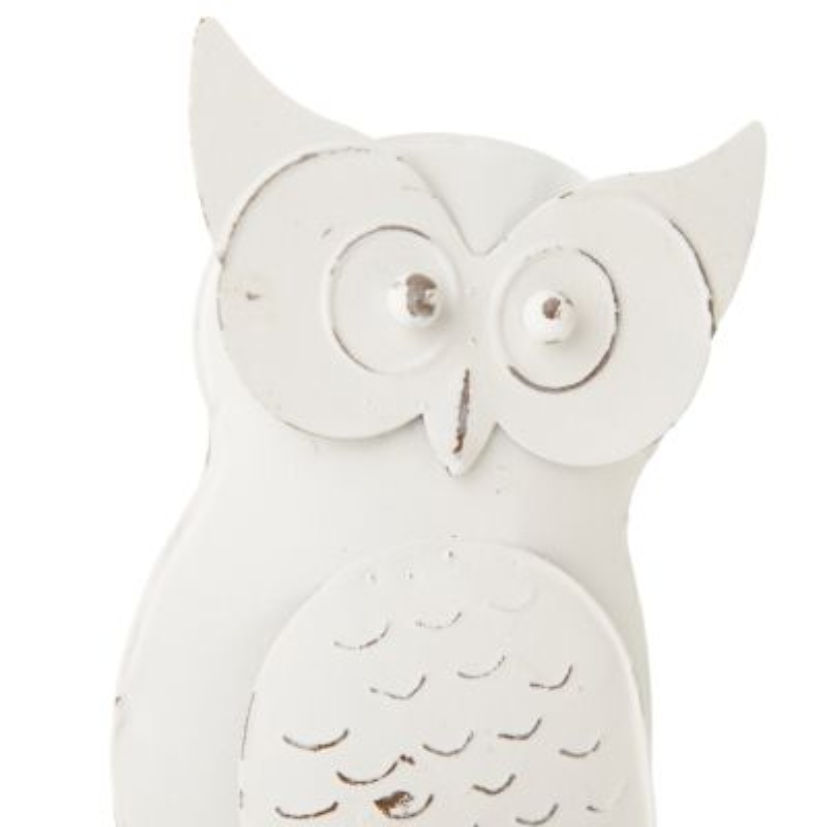 Large Antique White Metal Owl Ornament