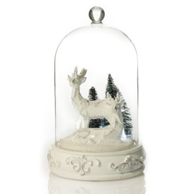 White Reindeer in Glass Cloche Lightup Ornament