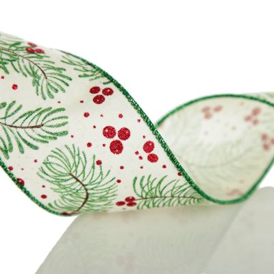 Wide White with Green Fir and Red Berry Ribbon