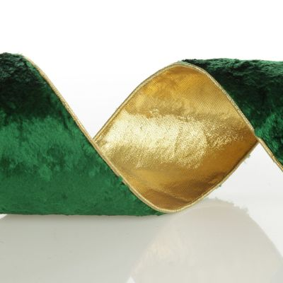Wide Green Velvet Wired Ribbon with Gold Edge Garland - Ribbon Roll