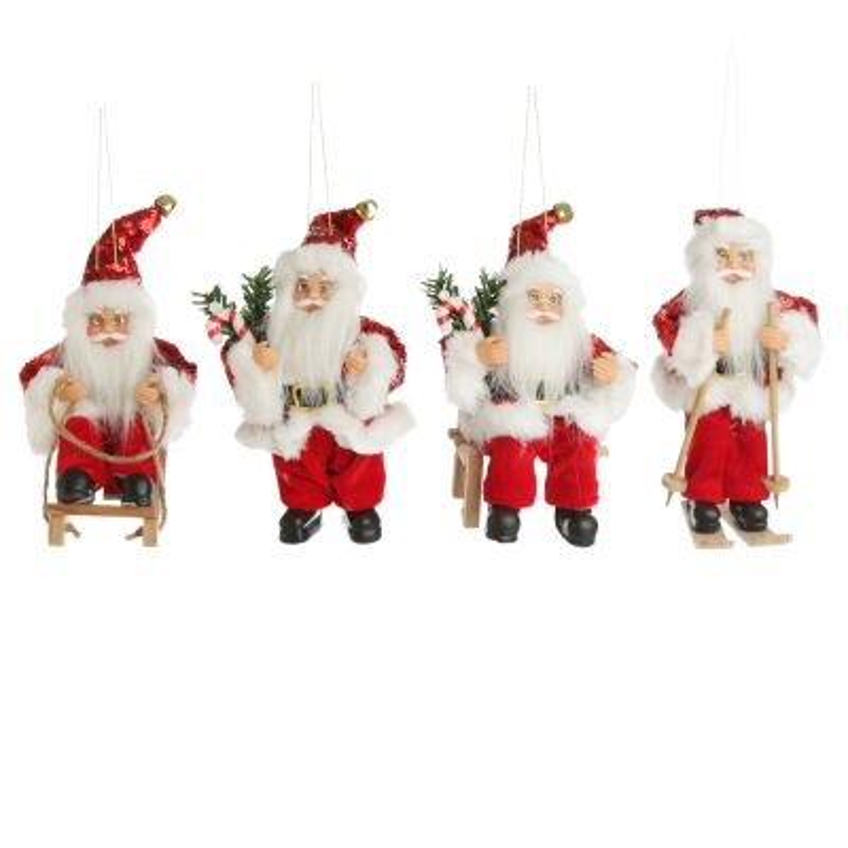 Winter Santa Tree Decorations - Set of 4 - Hanging