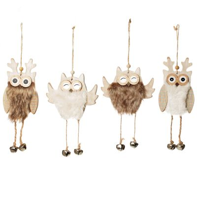 Wood Owl Tree Decorations with Fur & Bells - Set of 4