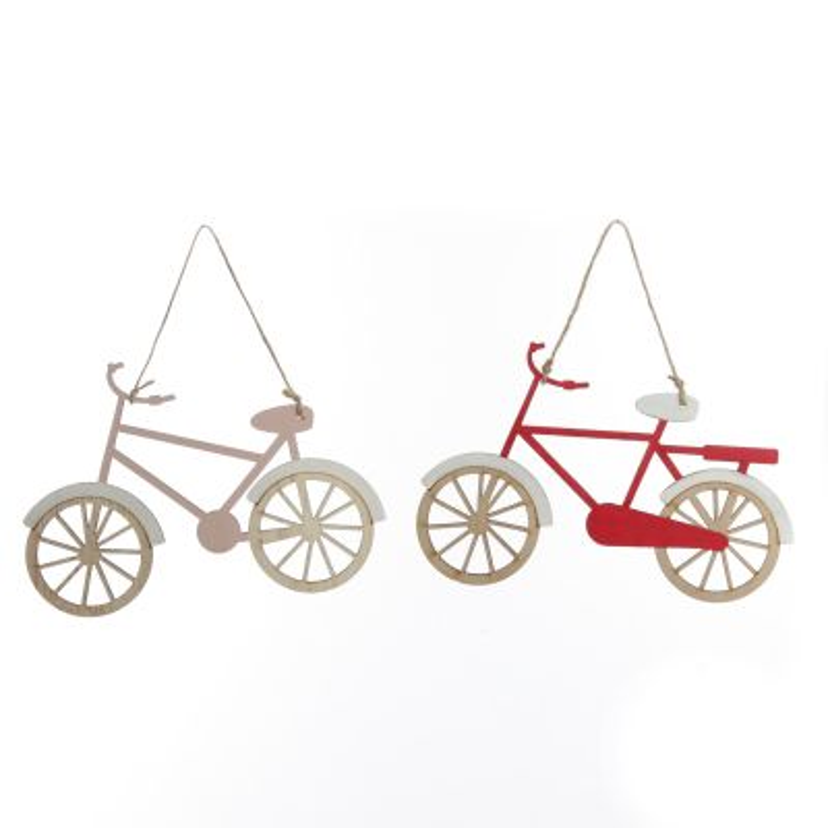 Wooden Bike Christmas Decoration - Set of 2