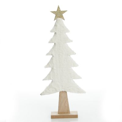 Wooden Christmas Tree with Fur and Star Ornament