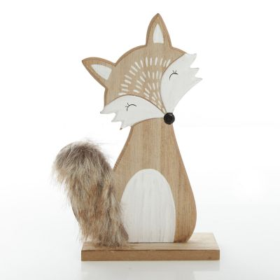Wooden Fox Ornament with Bushy Tail