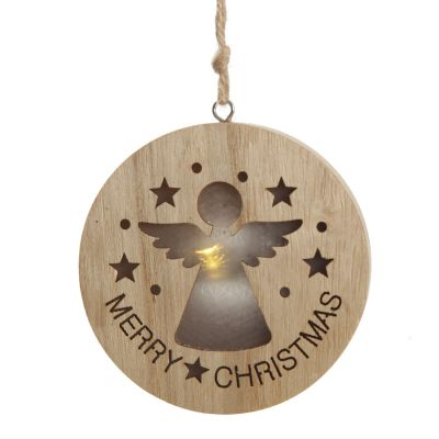 Wooden Lightup Angel Cut out Tree Decoration