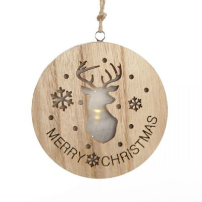 Wooden Lightup Deer Cut out Tree Decoration