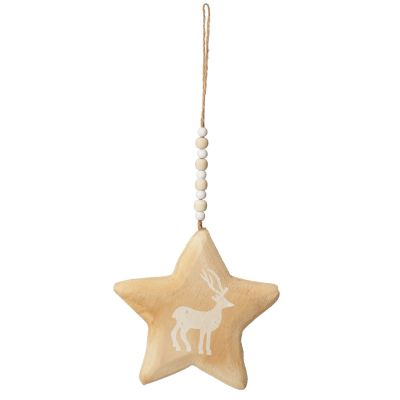 Natural Wooden Star with Printed Reindeer Christmas Decoration whole product