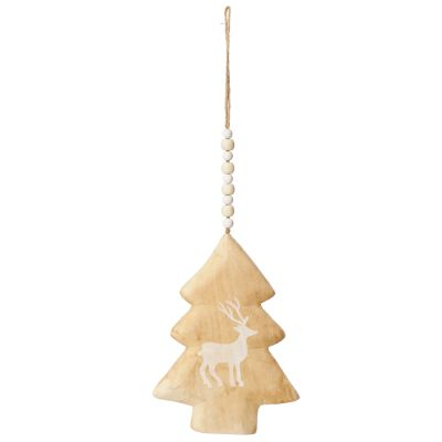 Natural Wooden Tree with Printed Reindeer Christmas Decoration whole product