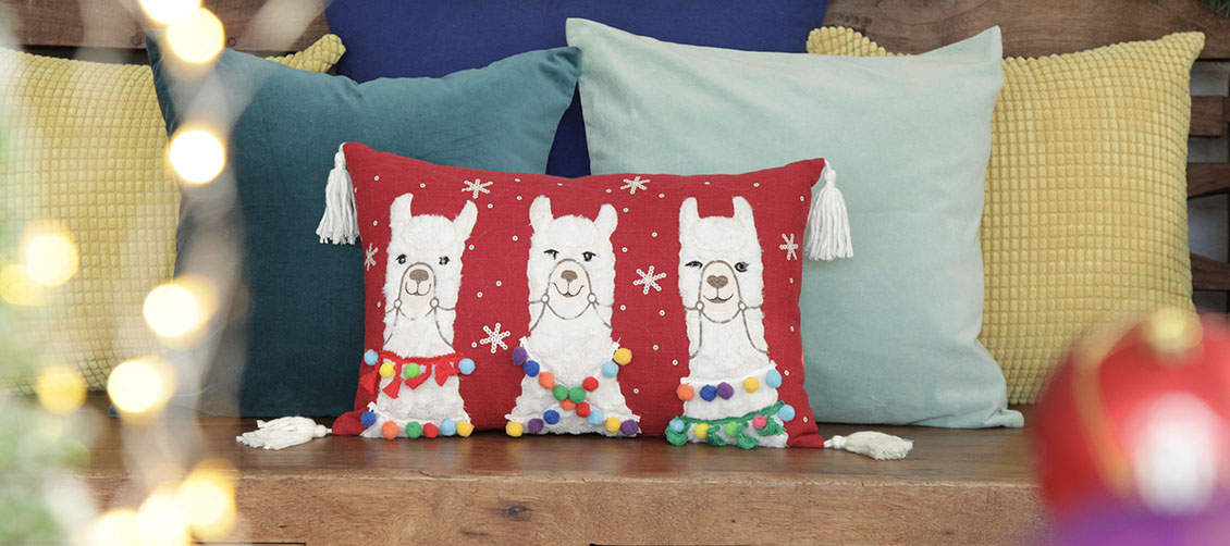 Christmas Fiesta Llama Cushion Cover
