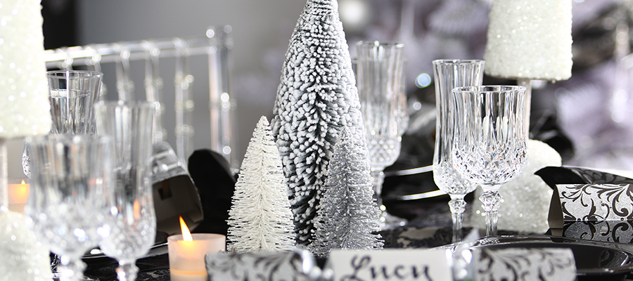 luxe christmas trees on table decoration