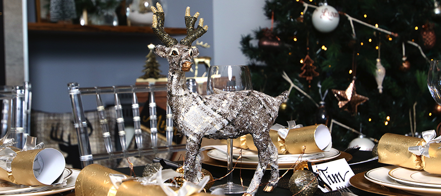 mixed metals christmas table decorations
