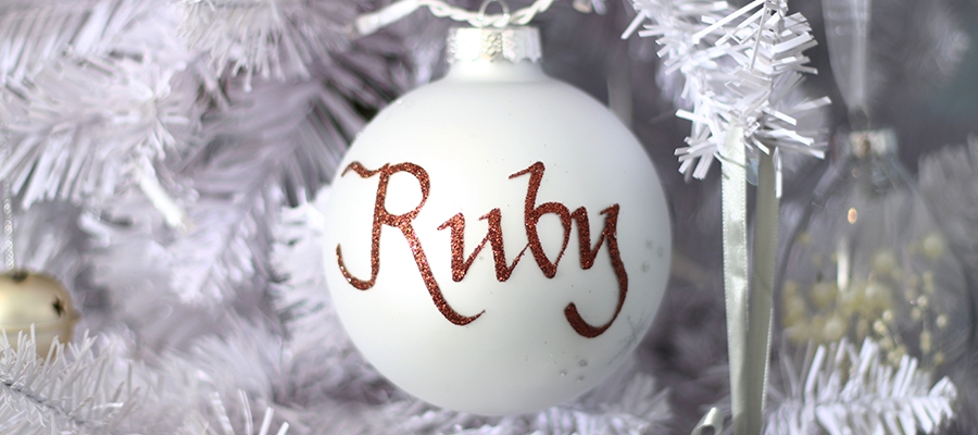 pastels and pearls christmas personalised bauble