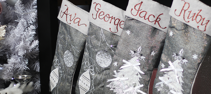 pastels and pearls christmas personalised stockings