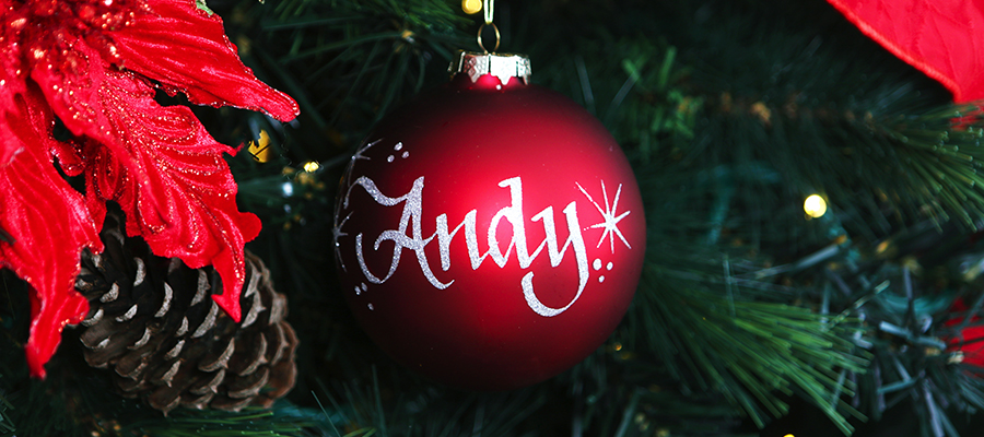 rustic christmas personalised bauble