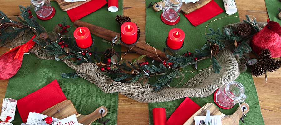 rustic christmas table styling
