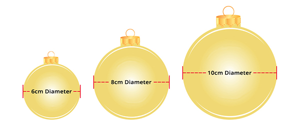 The Christmas Cart Bauble Measurements