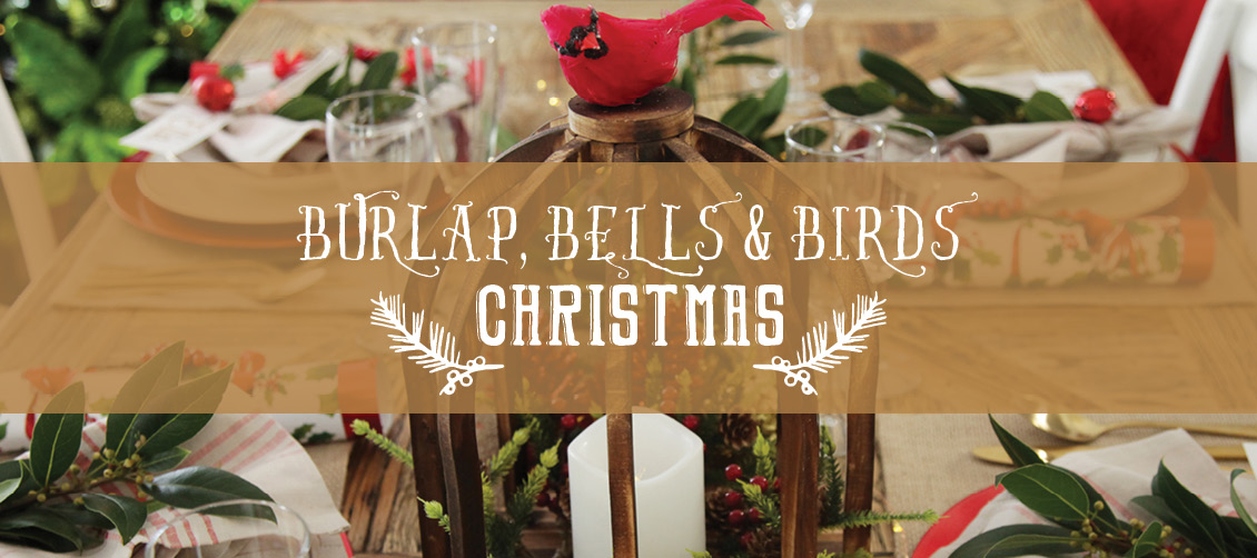 burlap birds bells christmas