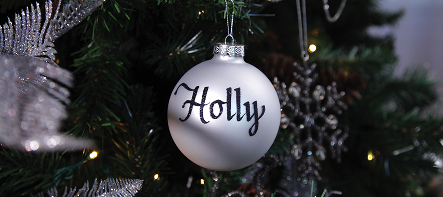 naturally elegant christmas personalised bauble