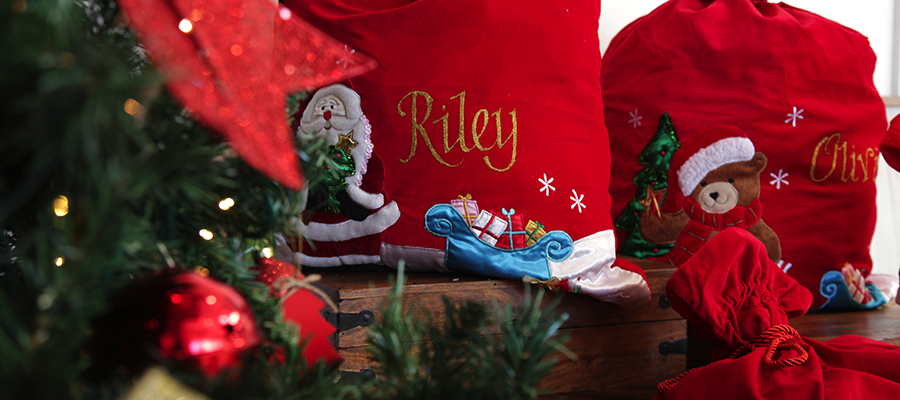 magical christmas morning deluxe velvet santa sacks
