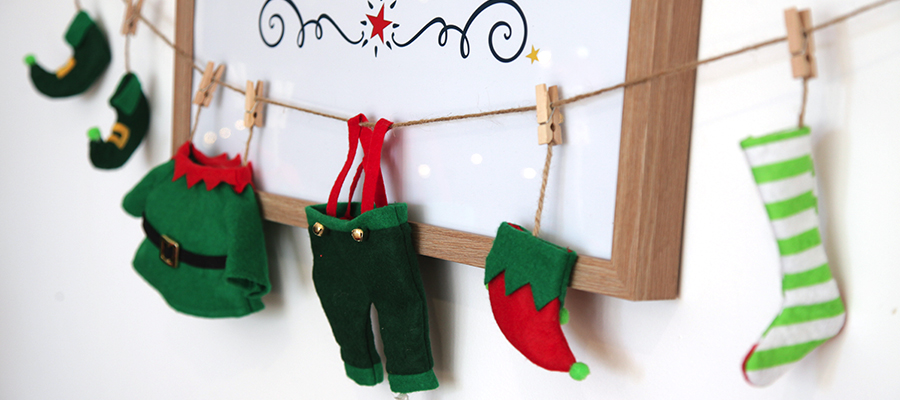 magical christmas morning elf clothes garland