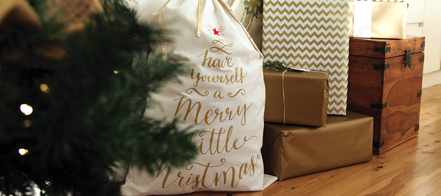 merry little christmas santa sack